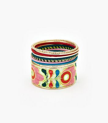 Neon Embroidered Multi Bangle Pack