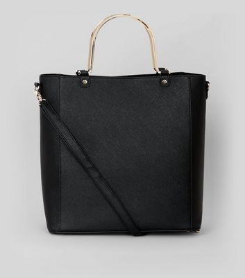 Black Metal Handle Shopper Bag