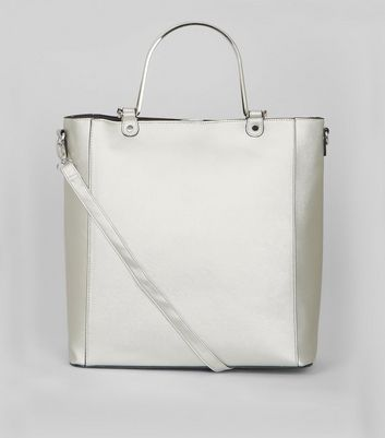 Silver Metal Handle Shopper Bag