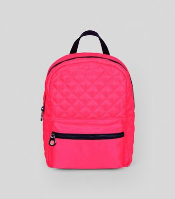 Neon Pink Quilted Backpack