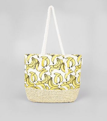 White Banana Print Shopper Bag