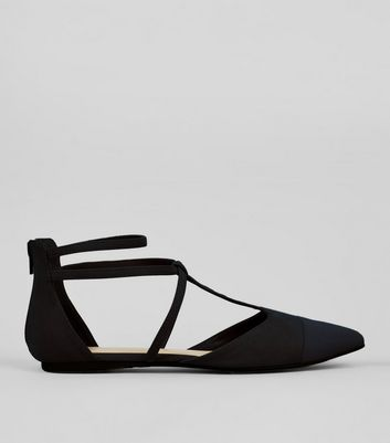 Wide Fit Black Suedette Strappy Sandals