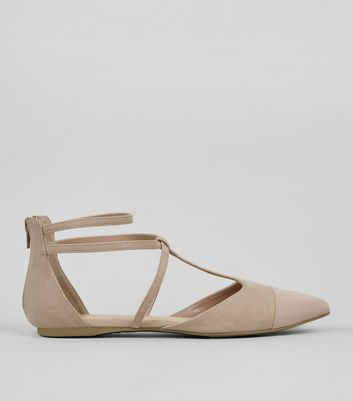 Wide Fit Nude Pink Suedette Strappy Sandals