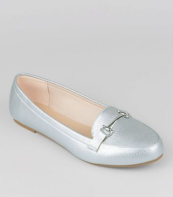 Wide Fit Silver Loafers