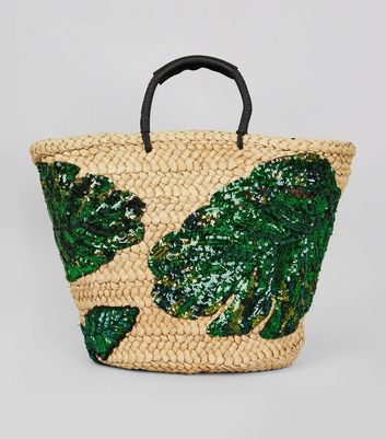 Green Sequin Palm Leaf Basket Bag