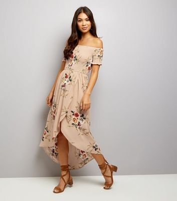Parisian Camel Floral Print Bardot Neck Dress