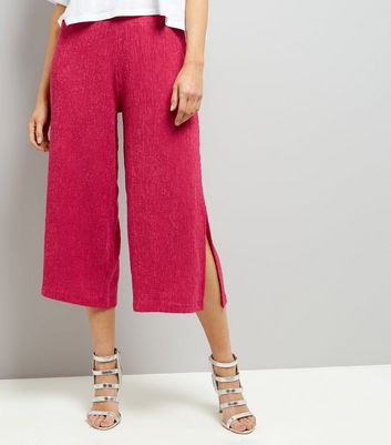 Bright Pink Textured Wide Leg Cropped Trousers