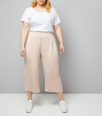 Curves - Pantalon court rose pâle en satin