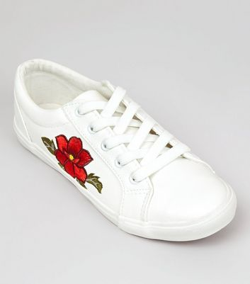 Wide Fit White Floral Embellished Lace Up Trainers