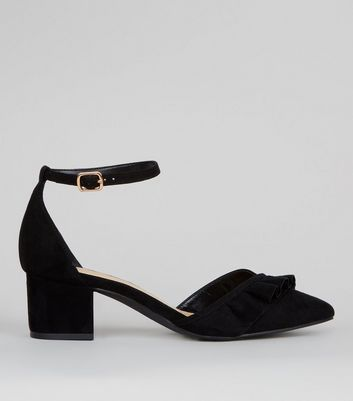 Wide Fit Black Frill Trim Mini Block Heels