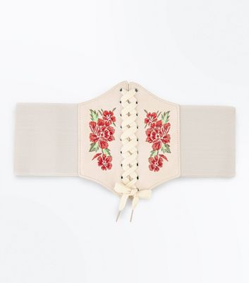 Cream Floral Embroidered Corset Belt