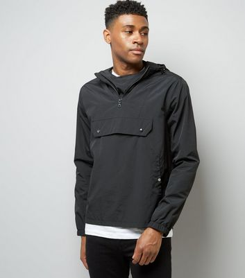 Black Pocket Front Hooded Jacket
