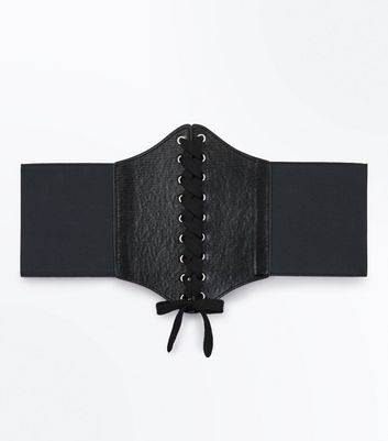 Black Lace Up Front Corset Belt