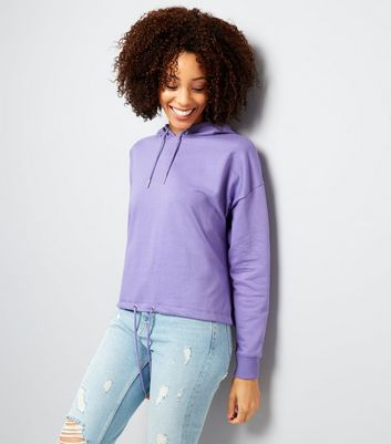Purple Drawstring Cropped Hoodie