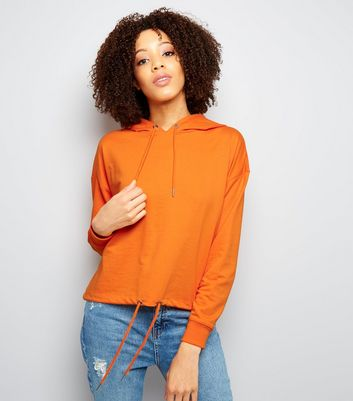 Orange Drawstring Cropped Hoodie