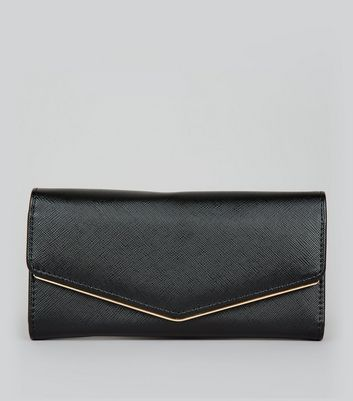 Black Metal Trim Foldover Purse