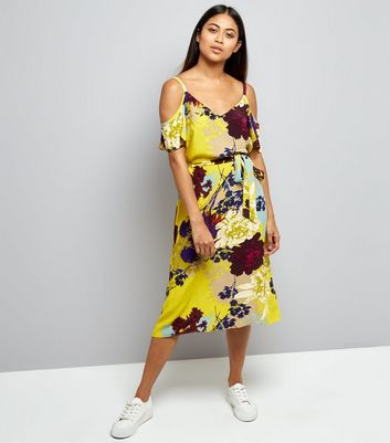 Petite Yellow Floral Cold Shoulder Midi Dress