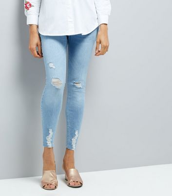 Maternity Pale Blue Ripped Over Bump Skinny Jeans