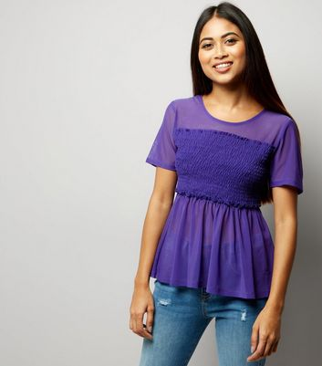 Petite Purple Shirred Mesh Top