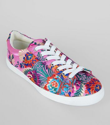 Pink Satin Floral Brocade Trainers