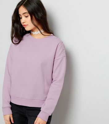 Teens Lilac Eyelet Shoulder Sweater