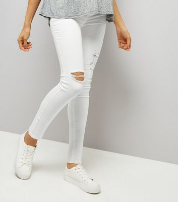 Maternity White Ripped Under Bump Skinny Jeans