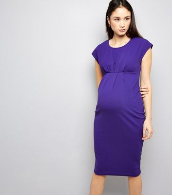 Maternity Purple Short Sleeve Midi Dress