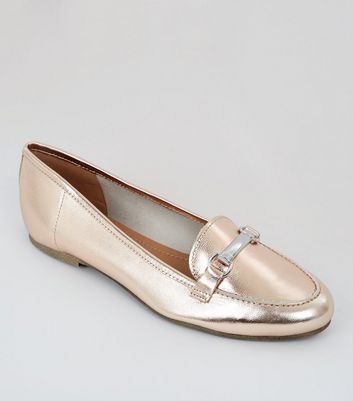 Rose Gold Metallic Leather Snaffle Trim Loafers