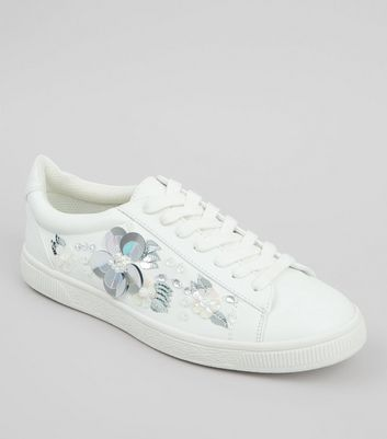 White 3D Floral Embellished Lace Up Trainers