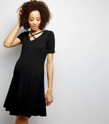 Maternity Black Cross Strap Front Skater Dress