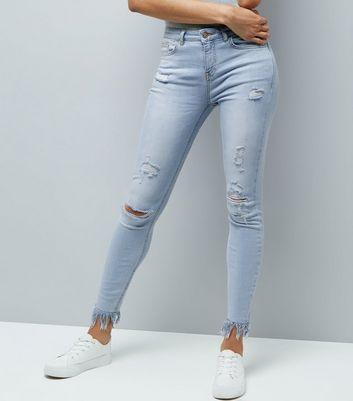 Tall Pale Blue Bleached Ripped Fray Hem Skinny Jeans