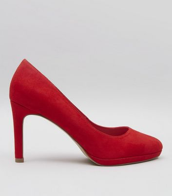 Red Comfort Suedette Platform Court Shoes