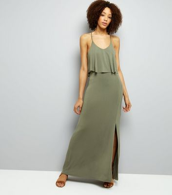 Khaki Layered Cross Strap Back Maxi Dress