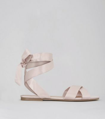 Pink Satin Cross Strap Ankle Tie Sandals