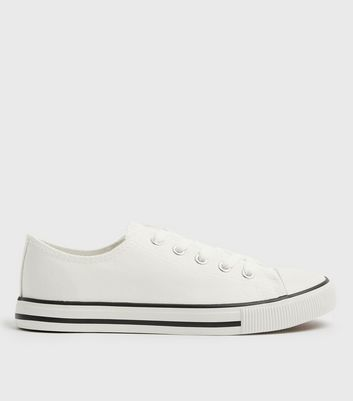 White Canvas Stripe Sole Trainers
