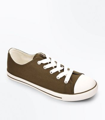 Khaki Canvas Stripe Sole Trainers