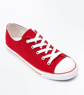 Red Canvas Stripe Sole Trainers