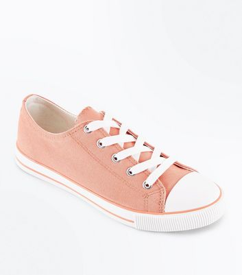 Coral Canvas Stripe Sole Trainers