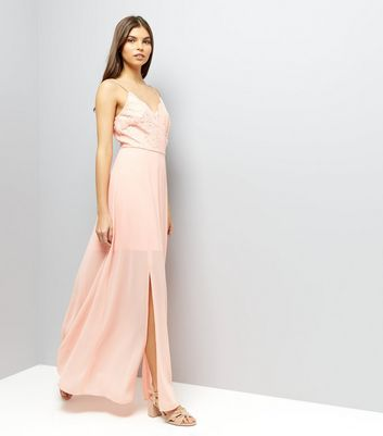 Coral Pink Lace Panel Strappy Maxi Dress