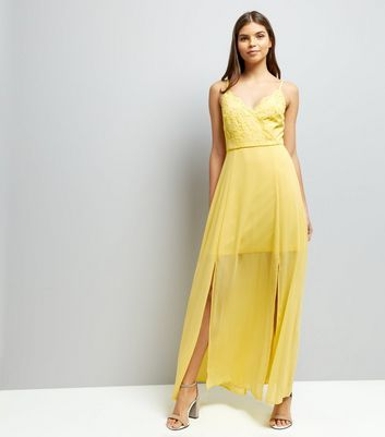 Yellow Lace V Neck Maxi Dress