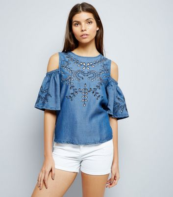 Blue Embroidered Cold Shoulder Top