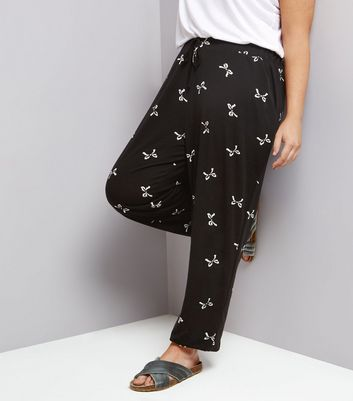 Curves Black Bow Print Jersey Joggers
