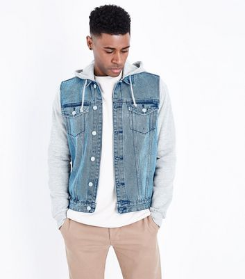 Blue Jersey Sleeve Denim Jacket
