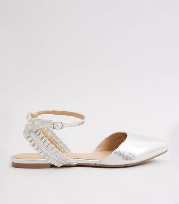 Silver Metallic Frill Trim Pointed Pumps