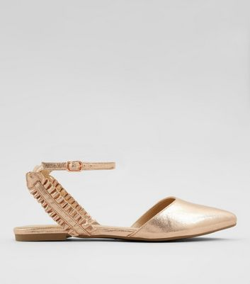 Rose Gold Frill Trim Pointed Pumps