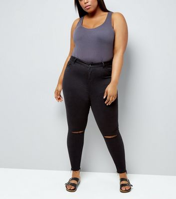 Curves Black Distressed Skinny Shaper Jeans