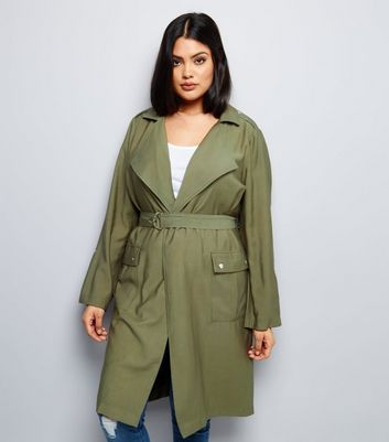 Curves Khaki Belted Duster Coat