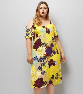 Curves Yellow Floral Cold Shoulder Midi Dress