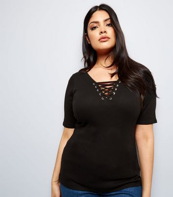 Curves Black Eyelet Lace Up Ribbed Short Sleeve Top