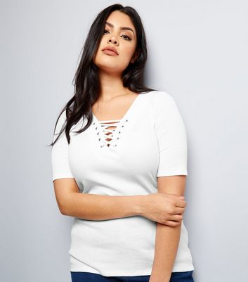 Curves White Eyelet Lace Up Ribbed Short Sleeve Top